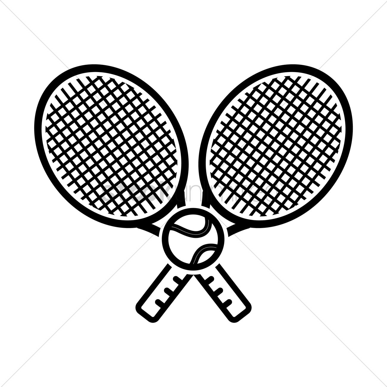 Two Tennis Rackets With Tennis Ball Vector Image 1984783