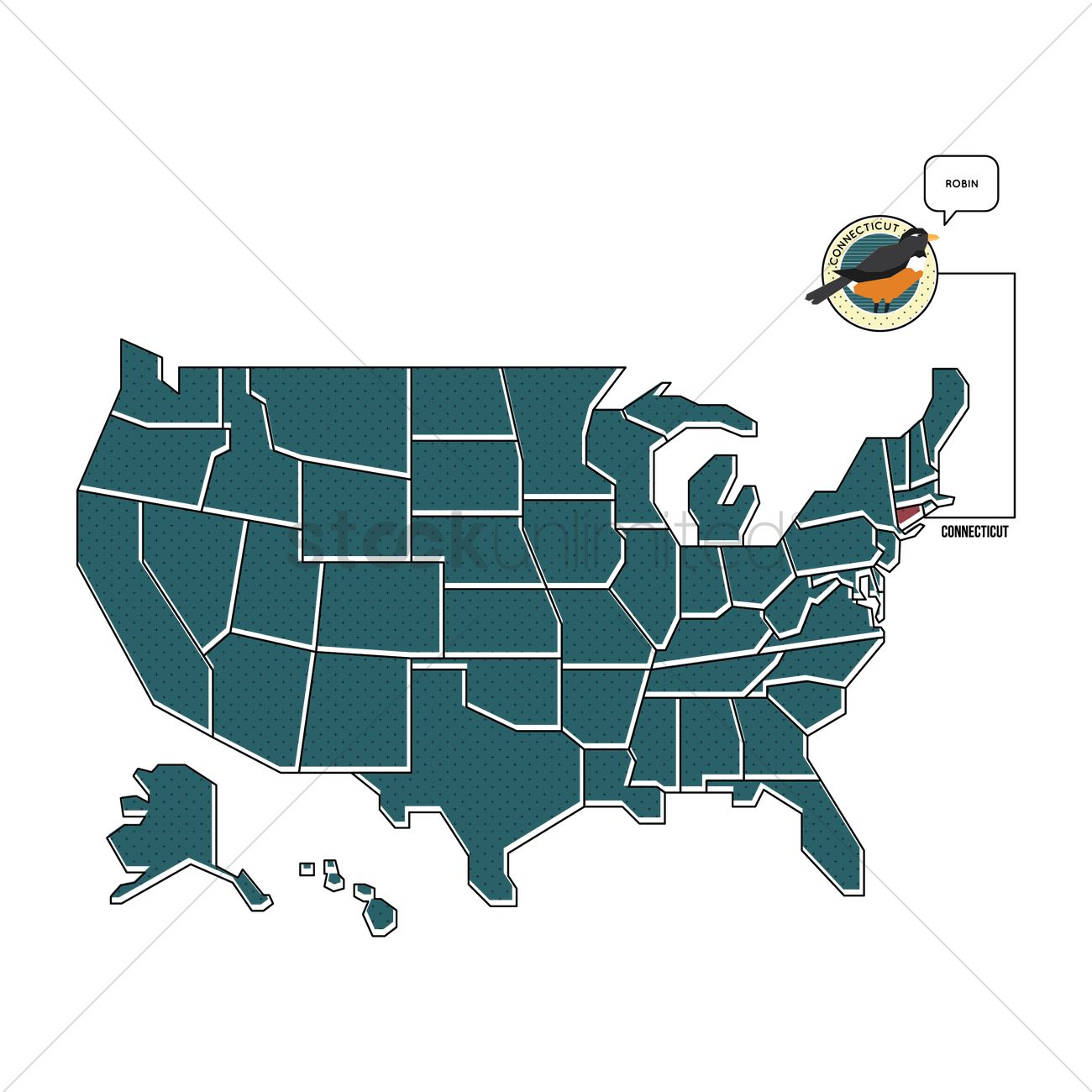 Us Map With Connecticut State Bird Vector Image 1567487 - Connecticut-on-the-us-map