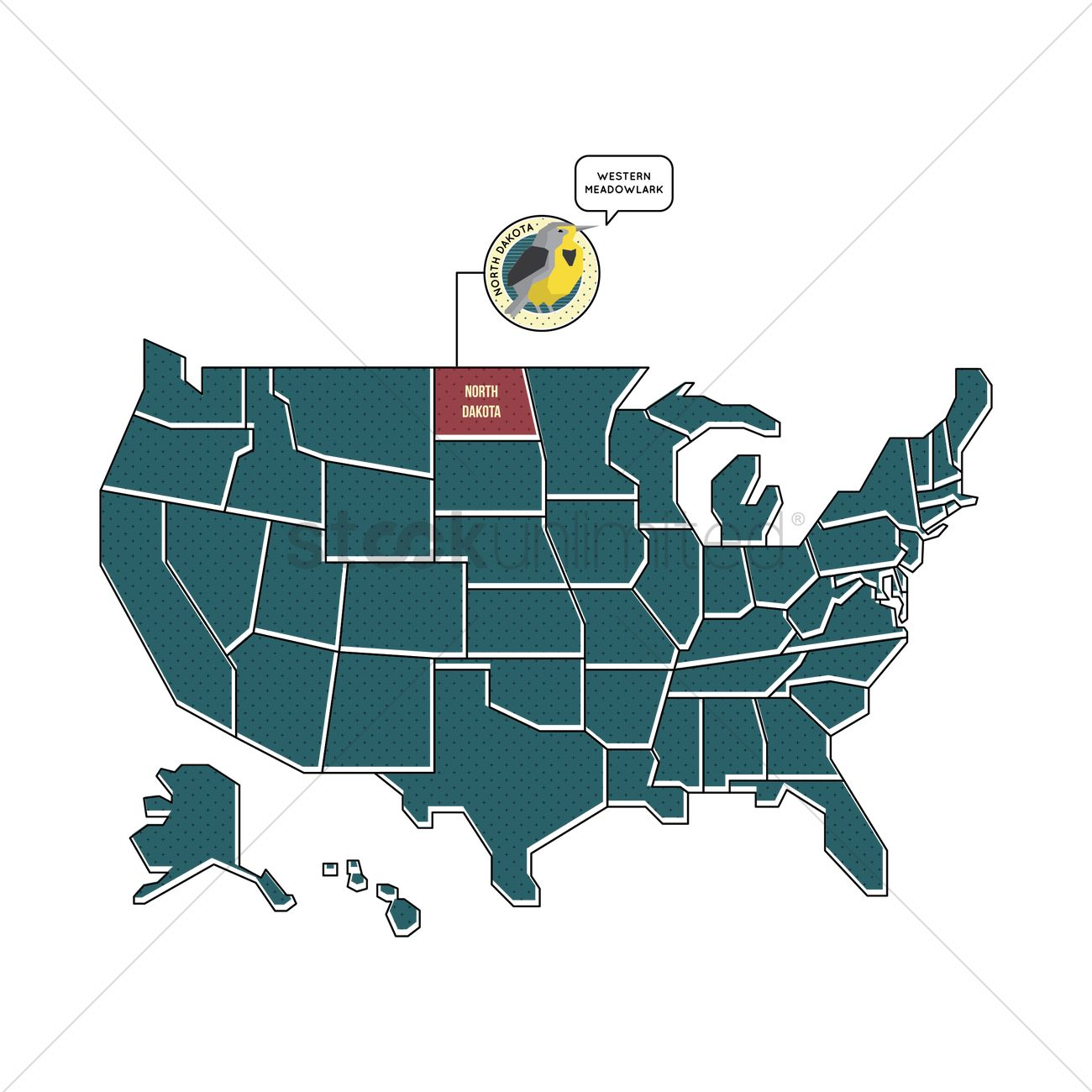 Us map with north dakota Vector Image - 1567443 | StockUnlimited