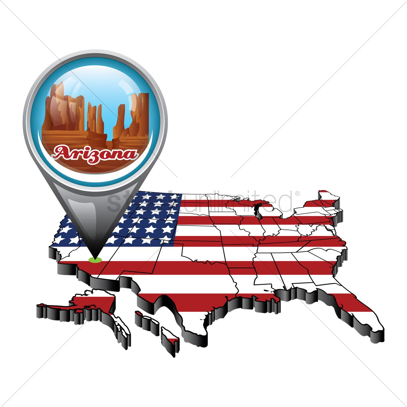 Us map with pin showing arizona state Vector Image - 1553423 ...