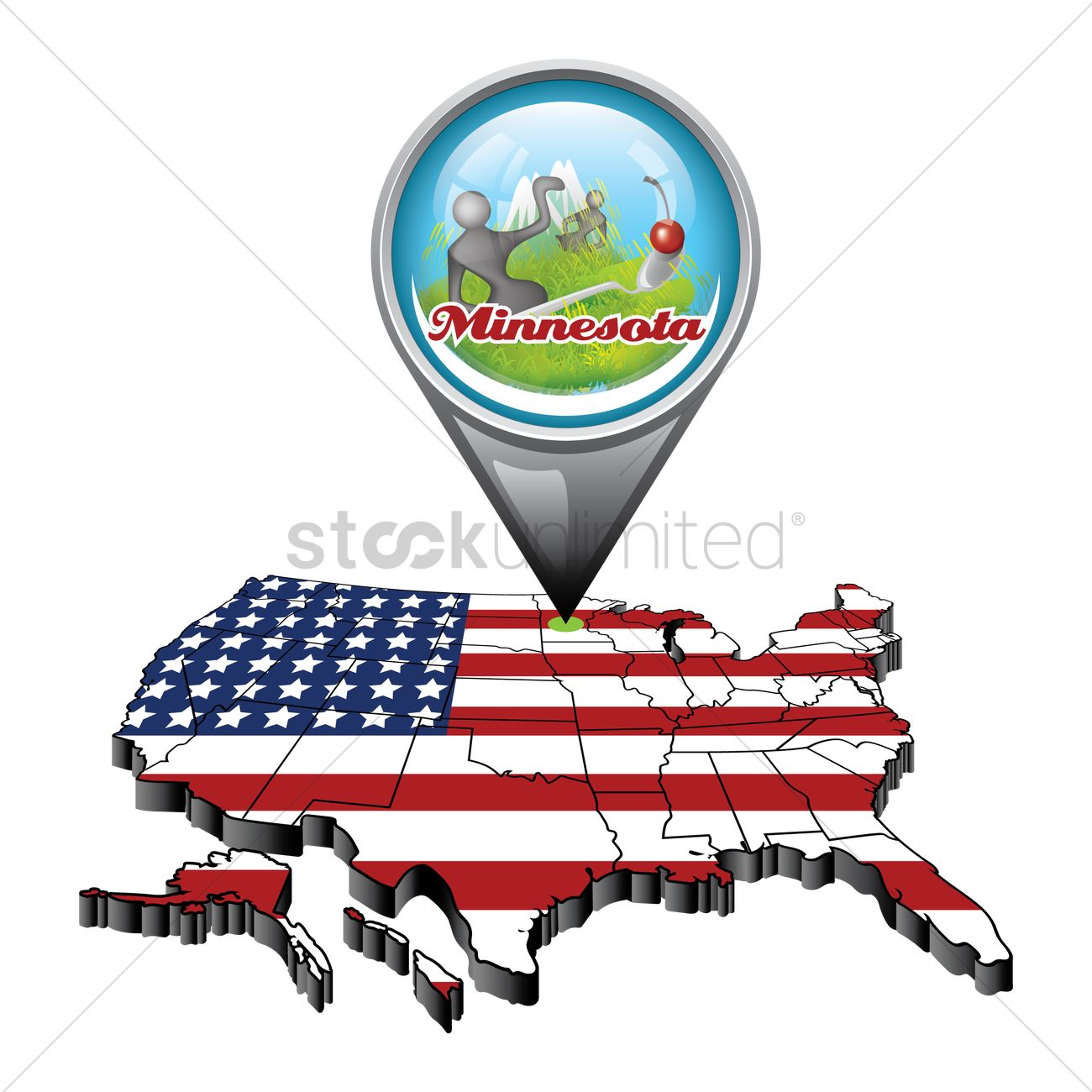 Us Map With Pin Showing Minnesota State Vector Image - A map of the us showing minnesota