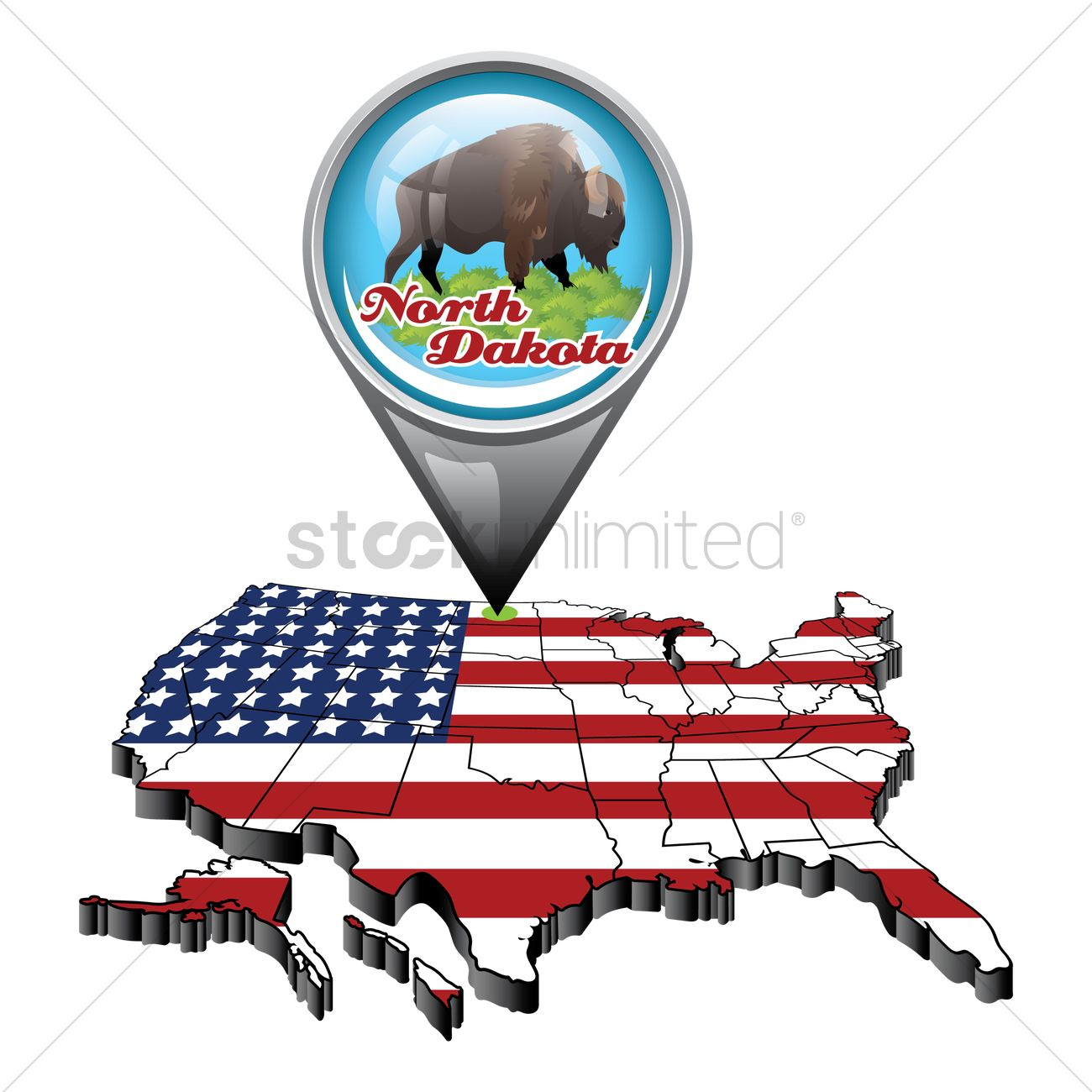 Us map with pin showing north dakota state Vector Image - 1553427 ...
