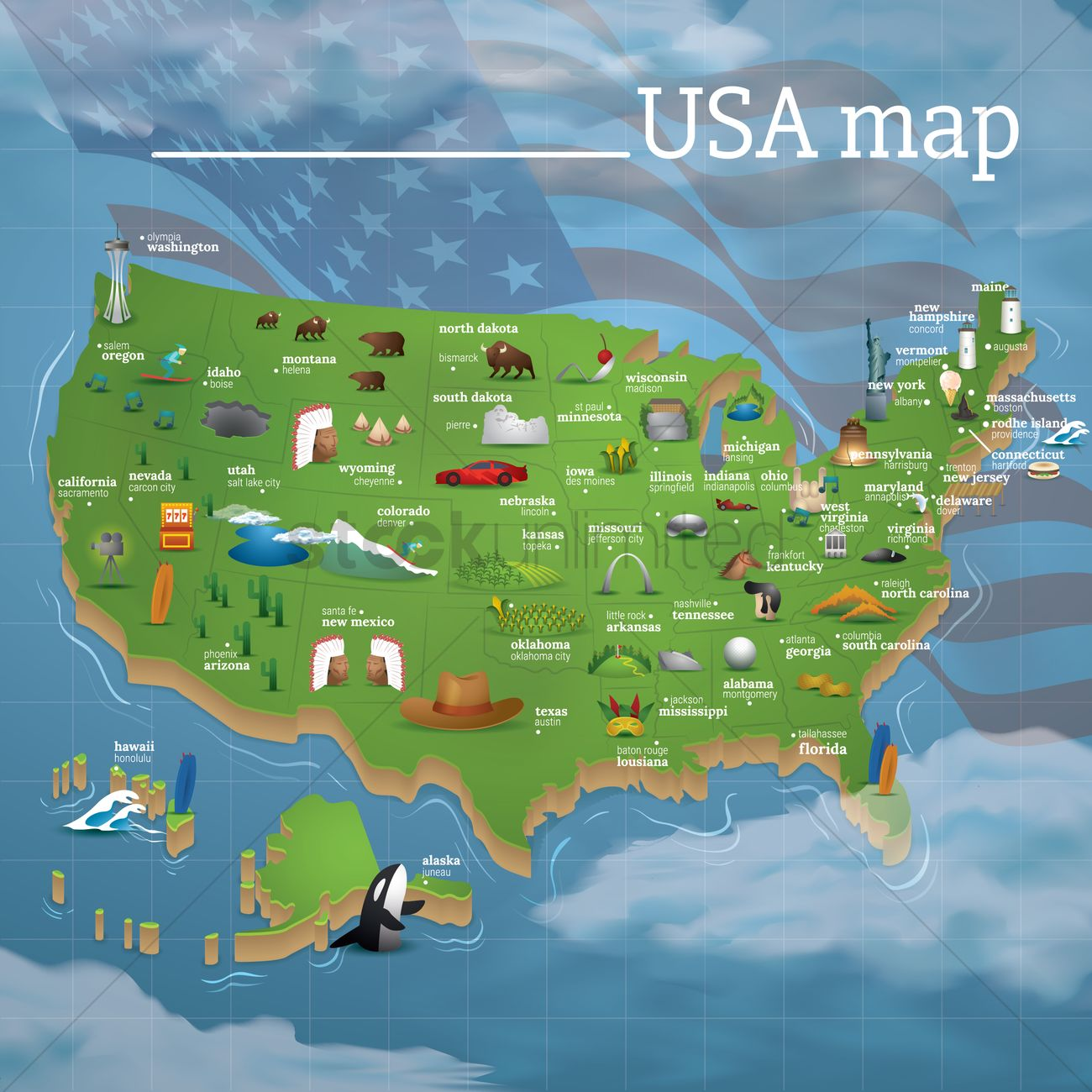 Usa map famous symbols Vector Image 1534479 StockUnlimited