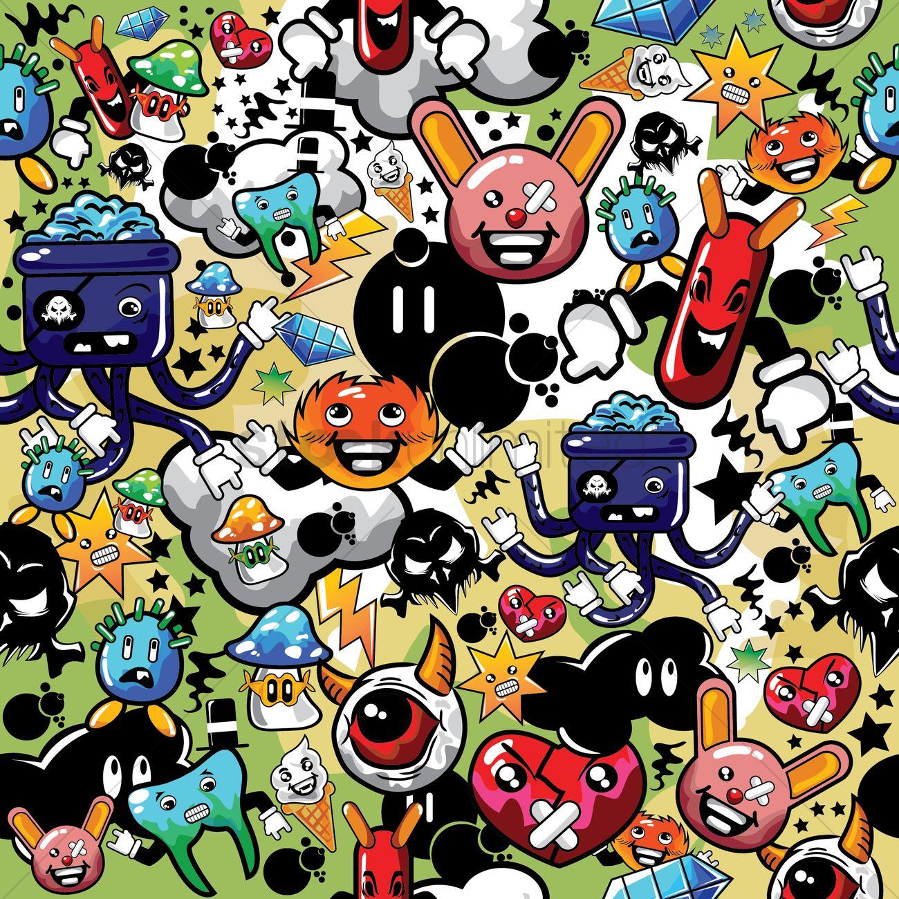 Cartoon Characters Background : Various cartoon characters background vector image