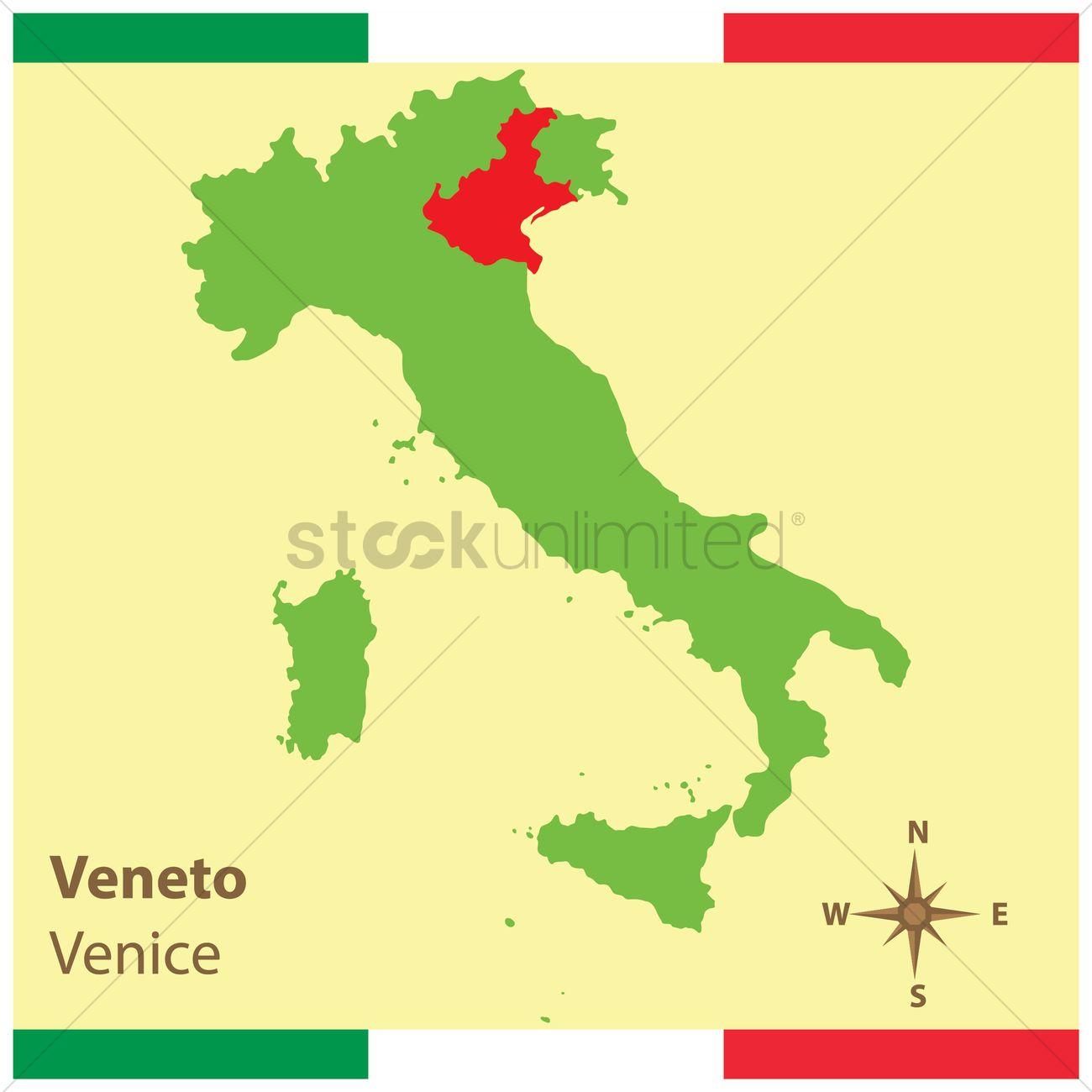 Veneto On Italy Map Vector Image 1583939 Stockunlimited