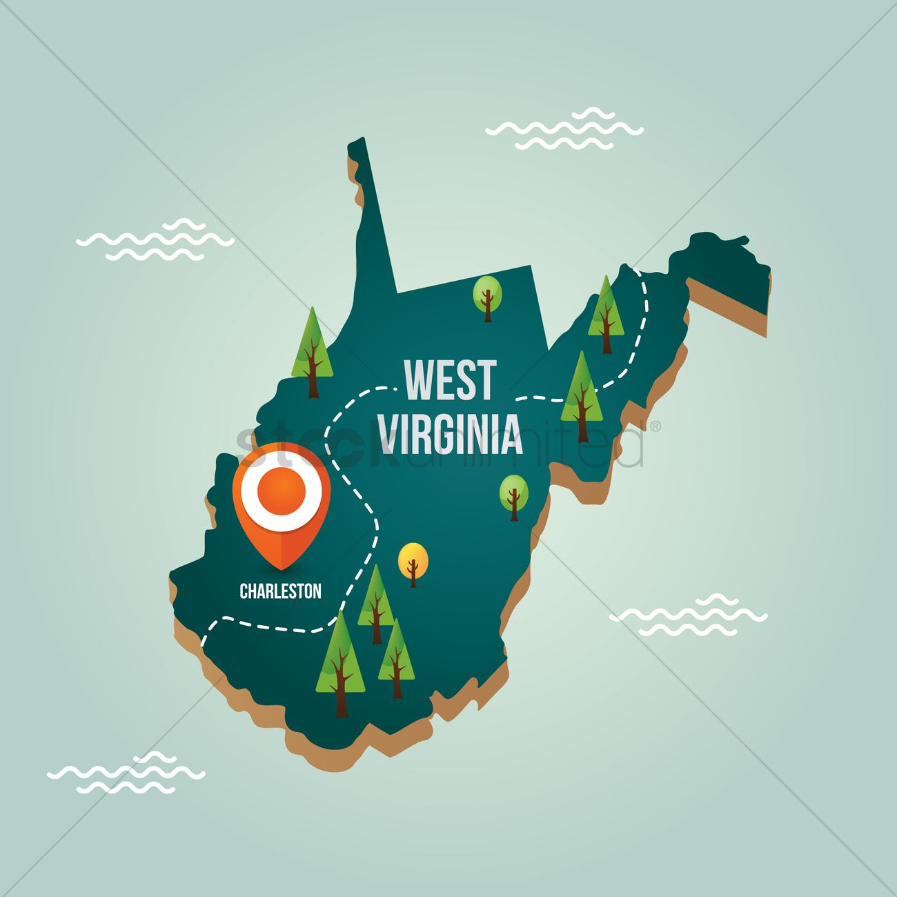 West virginia map with capital city Vector Image 1536751