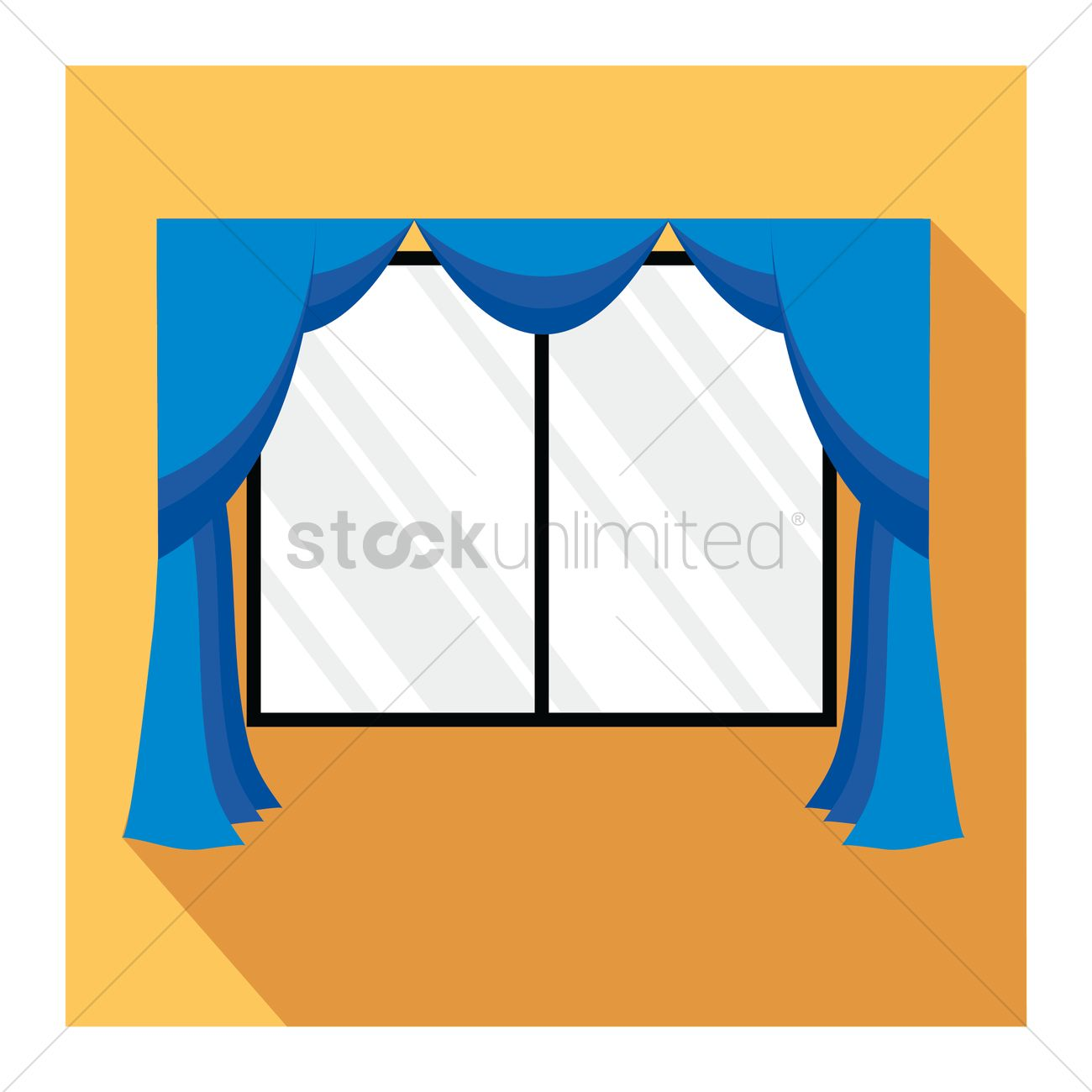 Window with curtains Vector Image - 1246771 | StockUnlimited for Window With Curtains Illustration  599kxo