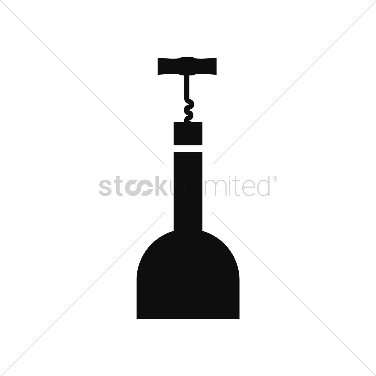 wine bottle with corkscrew vector image 1517131 stockunlimited. Black Bedroom Furniture Sets. Home Design Ideas