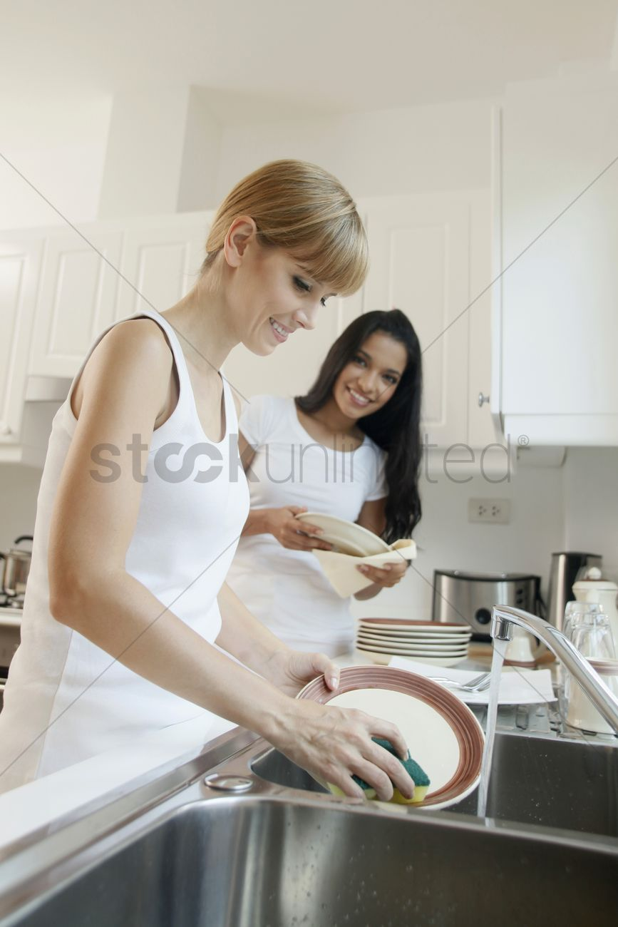 Women washing dishes in the kitchen Stock Photo - 1852071 ...