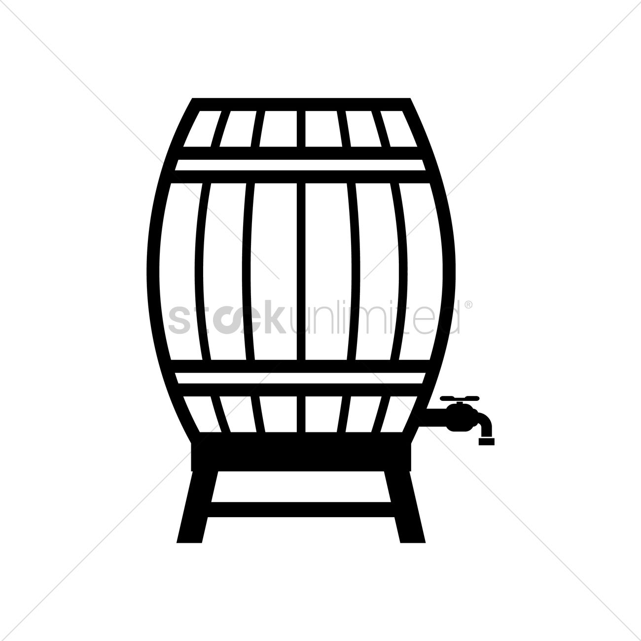 Wooden barrel with faucet Vector Image - 1493791 | StockUnlimited