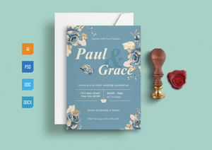 Templates : Floral Invitation Template