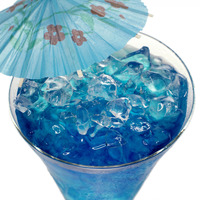 Popular : Blue curacao cocktail with ice and umbrella