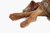 Bride s feet with henna decoration and anklets
