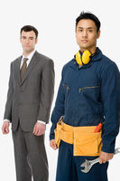 Businessman and workman