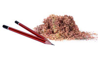 Close-up of pencils with shavings