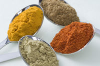 Close-up of spices in four spoons