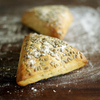 Popular : Close up of the triangular pastry on table