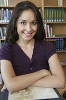 Female student in library portrait