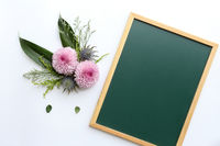 Flowers with blackboard design