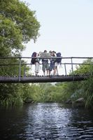 Popular : Four teenagers  16-17 years  backpacking in forest reading map on bridge