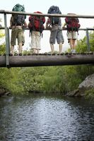 Popular : Four teenagers  16-17 years  standing on bridge carrying backpacks looking down back view