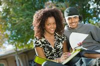 Friends studying outdoors  portrait