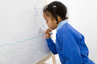Girl drawing picture on drawing board