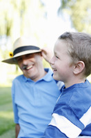 Popular : Grandfather and grandson laughing