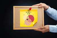 Hands holding a board with an overlap chart