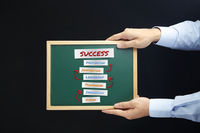 Hands holding chalkboard with success concept