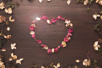 Heart shaped dried flowers