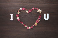 I love you design with heart shaped dried flowers