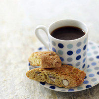 Popular : Italian espresso in spotty blue cup with cantuccini biscuits
