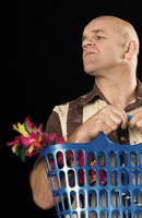 Popular : Man holding a basket with a feather duster in it