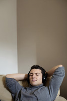 Man listening to music on portable mp3 player