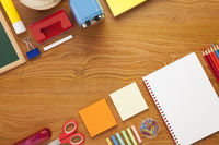 School and office supplies on desk background with copy space