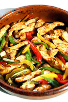 Stir-fried mexican chicken with pepper strips