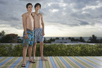 Popular : Two teenage boys  16-17  standing on wooden deck portrait