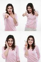 Woman with various expressions
