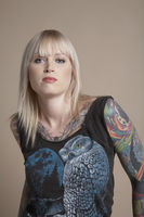 Young tattooed woman portrait