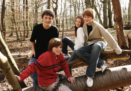 Trees : A group of kids hanging out in the woods