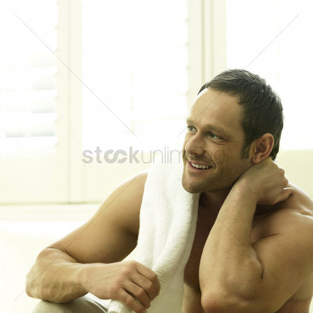 Thought : A man satisfied and happy after exercising