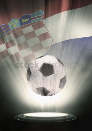 Nationality : A soccer ball with croatia flag backdrop