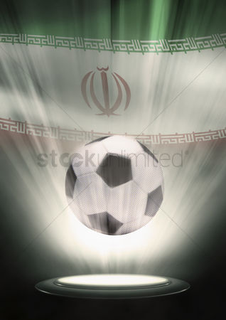 Nationality : A soccer ball with iran flag backdrop