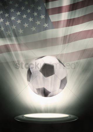 Hexagon : A soccer ball with usa flag backdrop