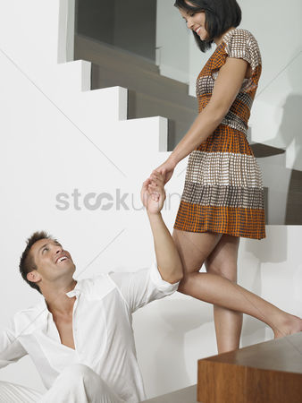 Steps : Affectionate young couple on stairs