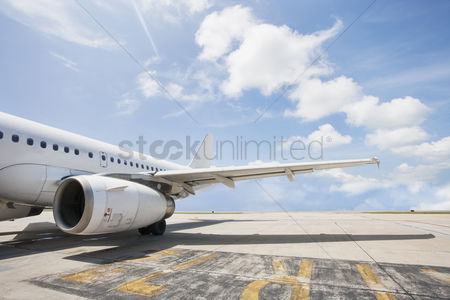Transportation : Airbus aircraft on airport koh samui thailand