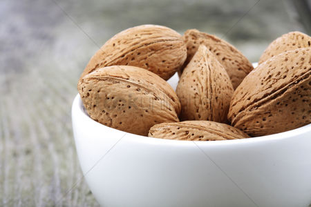 Health : Almond in shell - close-up