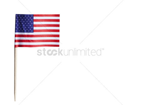 Flag : American flag in toothpick against white background