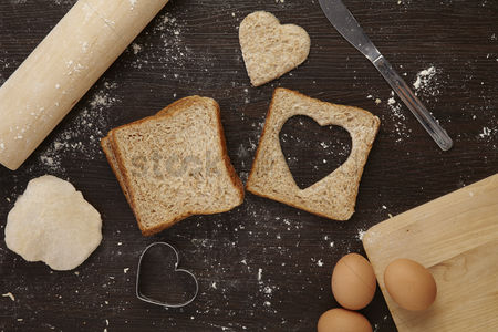 Heart shapes : Baking with love concept